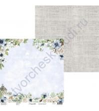 Бумага для скрапбукинга двусторонняя, 30.5х30.5 см, плотность 250 гр/м2, коллекция Snowy Flowers, Лист 3