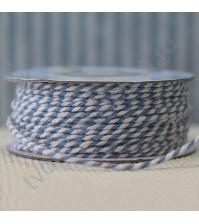 Бечевка хлопковая, диаметр 2мм, цвет голубой/белый, 1 метр