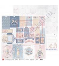 Бумага для скрапбукинга, 30.5х30.5 см, плотность 190 гр/м2, коллекция Потешки, лист Конверты и теги