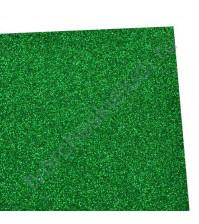 Фоамиран с глиттером, 2 мм, размер 20х30 см, цвет зеленый