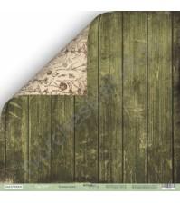 Бумага для скрапбукинга двусторонняя 30.5х30.5 см, 200 гр/м, коллекция Cozy Forest, лист Зеленые доски