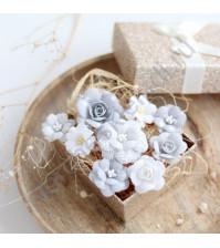 Цветы ручной работы из ткани, 9 шт, цвет бело-серый микс