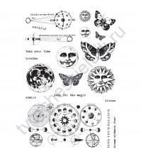 Набор резиновых штампов Dream Without Fear, коллекция  Art Daily Planner, 20 элементов, размер набора 10х15 см