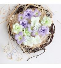 Цветы ручной работы из ткани Гортензии и розы, 15 шт, цвет салатово-сиреневый микс