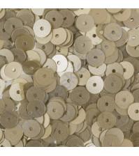 Пайетки плоские круглые с матовым эффектом 6 мм, 10 гр, цвет светло-золотой