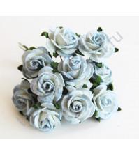 Розочки средние 2 см, 5 шт, цвет двухтоновый голубой