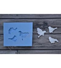 Форма силиконовая (молд) для полимерной глины, Набор маленьких птичек