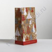 Пакет подарочный без ручек Новогодние елки, 10х19.5х7 см