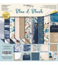 Набор бумаги с фольгированием Blue and Blush, 30.5х30.5 см, 190 гр/м, 11 листов
