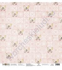 Бумага для скрапбукинга односторонняя Цветочное бохо, 30.5х30.5 см, 190 гр/м, лист Розовая стена
