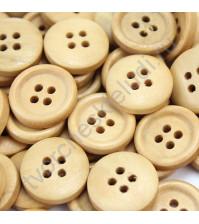 Пуговица деревянная, без покрытия, 13 мм, 4 отверстия, 1 штука