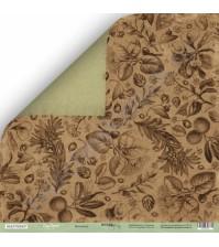 Бумага для скрапбукинга двусторонняя 30.5х30.5 см, 200 гр/м, коллекция Cozy Forest, лист Ботаника