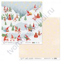 Бумага для скрапбукинга двусторонняя коллекция Новогодние хлопоты, 30.5х30.5 см, 190 гр/м, лист 1