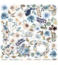 Бумага для скрапбукинга односторонняя 30.5х30.5 см, 190 гр/м, коллекция Blue and Blush, лист Цветы