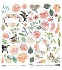 Бумага для скрапбукинга двусторонняя, коллекция Peaches and Cream, 30.5х30.5 см, 190 гр\м2, лист для вырезания Цветы