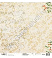 Бумага для скрапбукинга односторонняя Осенняя история, 30.5х30.5 см, 190 гр/м, лист Нежность осени