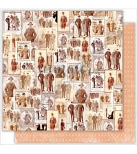 Бумага для скрапбукинга двусторонняя 30.5х30.5 см, 190 гр/м, коллекция Mens world, лист Vintage