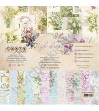 Набор бумаги Первоцветы, 20х20 см, 190 гр/м, 6 двусторонних листов + 2 односторонних листа
