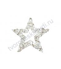 Декоративная звезда новогодняя, ротанг с глиттером, 15 см