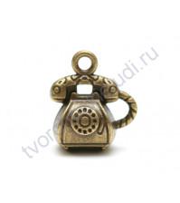 Подвеска металлическая Ретро телефон, 12х15мм, цвет бронза