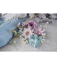 Цветы ручной работы из ткани Цветочный блюз, фиолетовый