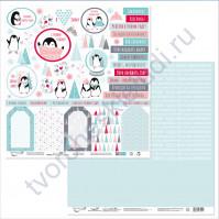 Бумага для скрапбукинга двусторонняя коллекция Будешь моим пингвинчиком?, 30.5х30.5 см, 190 гр/м, лист 7