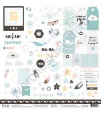 Бумага для скрапбукинга односторонняя коллекция В облаках, 30.5х30.5 см, 190 гр/м, лист Счастье рядом