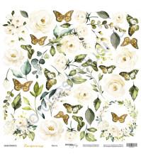Бумага для скрапбукинга односторонняя 30.5х30.5 см, 190 гр/м, коллекция Tenderness, лист Цветы