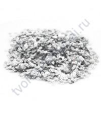 Мини пайетки круглые с эффектом металлик 3 мм, 10 гр, цвет серебро