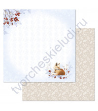 Бумага для скрапбукинга двусторонняя коллекция Снежная клюква, 30.5х30.5 см, 180 гр/м, лист Лисичка