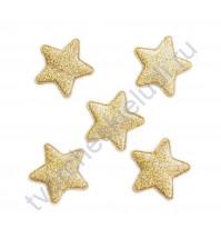 Набор тканевых аппликаций с глиттером Звезда, размер 3.3х3.3 см, 5 шт, цвет розовое золото