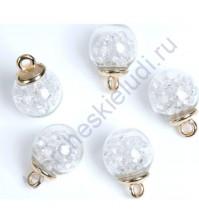 Стеклянный шар подвеска со стразами, 16 мм, цвет белый