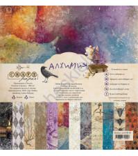 Набор бумаги Алхимия, 30.5х30.5 см, 190 гр/м, 12 двусторонних листов + 4 листа с карточками и элементами для вырезания