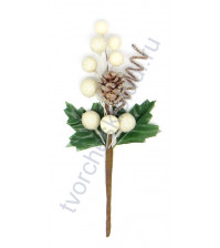 Букетик декоративный Зимний, высота 15.5 см, цвет белый