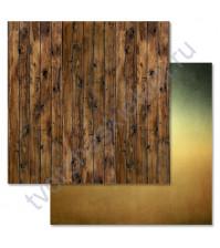 Бумага для скрапбукинга двусторонняя 30.5х30.5 см, 190 гр/м, коллекция Дембельский альбом, лист Доски