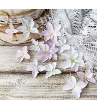 Цветы ручной работы из ткани Гортензии дуболистные, 12 шт, цвет бело-розовый