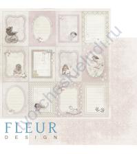 Бумага для скрапбукинга двусторонняя, коллекция Наш малыш Девочка, 30х30см плотность 190г/м, лист Вертикальные рамочки