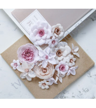 Цветы ручной работы из ткани Diamond, цвет бежево-розовый
