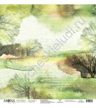 Бумага для скрапбукинга односторонняя Осень, 30.5х30.5 см, 190 гр/м, лист Осенний пейзаж