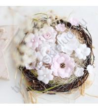 Цветы ручной работы из ткани, 14 шт, цвет розово - белый микс
