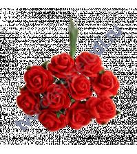 Мини-розочки 1 см, 10 шт, цвет красный