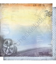 Бумага для скрапбукинга двусторонняя, коллекция Автопарк, лист 002