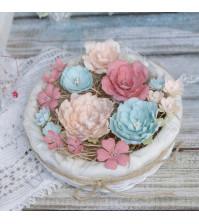 Цветы ручной работы из ткани Пионы и розы, 17 шт, цвет пастельный микс