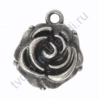 Металлическая подвеска Бутон Розы, 14х18 мм, цвет серебро