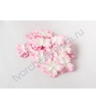 Лепестки гортензии большие 5 см, 10 шт, цвет св.розовый с белым