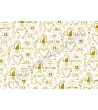 Пленка с золотым рисунком для декора Love, коллекция Just Married, толщина 0.25 мм, формат А4