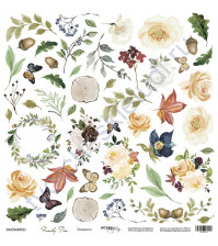 Бумага для скрапбукинга двусторонняя, коллекция Family Tree, 30.5х30.5 см, 190 гр\м2, лист для вырезания Элементы
