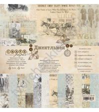 Набор бумаги Джентльмен, 30.5х30.5 см, 190 гр/м, 12 двусторонних листов + 4 листа с карточками и элементами для вырезания