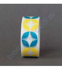 Бумажный скотч с принтом Лепестки, 15ммХ8м, цвет голубой - жёлтый