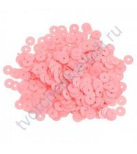 Пайетки плоские круглые с глянцевым эффектом 6 мм, 10 гр, цвет бледно-розовый